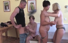 Three older women share a hard dick