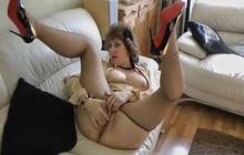 Horny woman masturbates and sucks fat cock