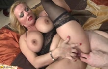 Big tit blonde sucks and gets fucked