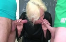 Mature blonde professor and her two students
