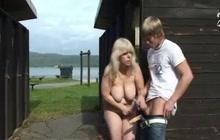 Horny grandma riding long stiff dick