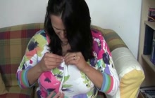 POV with chubby mature