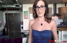 Stepmother in glasses rides cock for cum