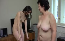 Old lady and brunette babe in lesbian sex