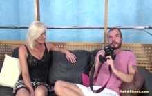 Casting couch fucking with breasty blonde
