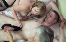 Old ladies sharing a young dick