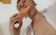 Mature teacher masturbating in the classroom